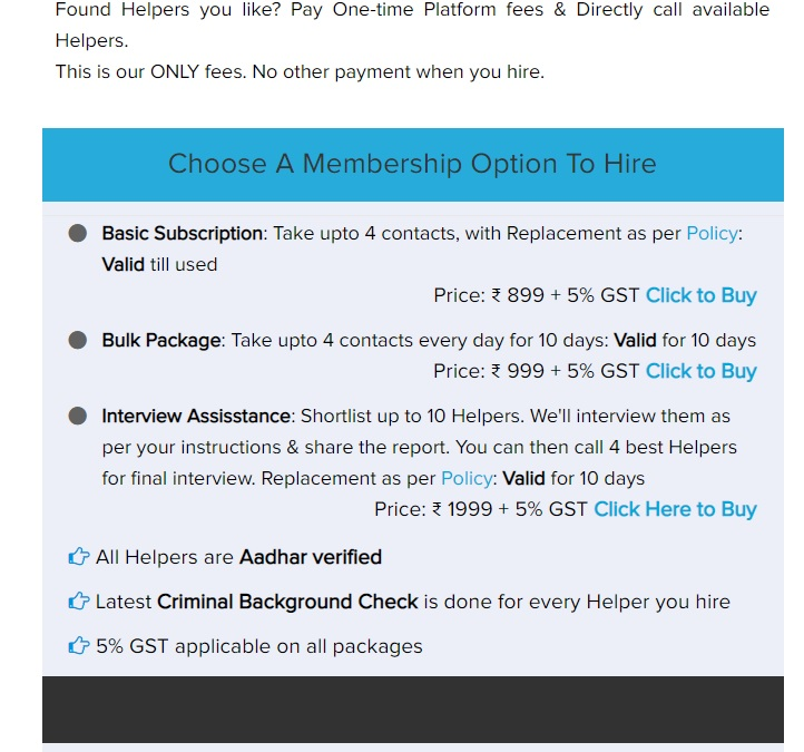 Subscription packages on Helper4U