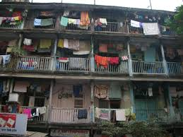 Multi story chawl where Helpers live